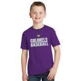 Youth Purple T Shirt-Baseball Stacked