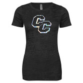 Next Level Ladies Junior Fit Black Burnout Tee-CC  Foil