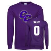Purple Long Sleeve T Shirt-CC, Custom Tee w/ Name and #
