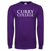 Purple Long Sleeve T Shirt-Curry College Stacked