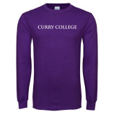 Purple Long Sleeve T Shirt-Curry College Flat