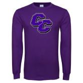 Purple Long Sleeve T Shirt-CC Distressed