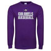 Purple Long Sleeve T Shirt-Baseball Stacked