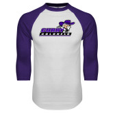 White/Purple Raglan Baseball T Shirt-Curry Colonels