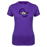 Ladies Syntrel Performance Purple Tee-CC with Colonel Head