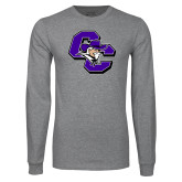 Grey Long Sleeve T Shirt-CC with Colonel Head