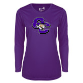 Ladies Syntrel Performance Purple Longsleeve Shirt-CC with Colonel Head