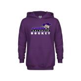 Youth Purple Fleece Hoodie-Hockey