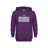 Youth Purple Fleece Hoodie-Baseball Stacked