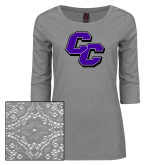 Ladies Grey Heather Lace 3/4 Sleeve Tee-CC