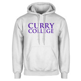 White Fleece Hoodie-Curry College Stacked