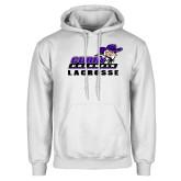 White Fleece Hoodie-Lacrosse