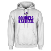 White Fleece Hoodie-Baseball Stacked