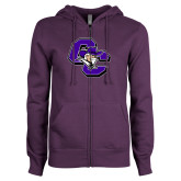 ENZA Ladies Purple Fleece Full Zip Hoodie-CC with Colonel Head