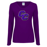Ladies Purple Long Sleeve V Neck Tee-CC