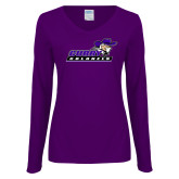 Ladies Purple Long Sleeve V Neck Tee-Curry Colonels