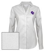 Ladies Red House Diamond Dobby White Long Sleeve Shirt-CC