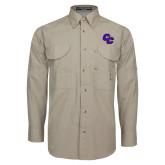 Khaki Long Sleeve Performance Fishing Shirt-CC