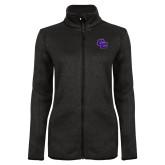 Black Heather Ladies Fleece Jacket-CC