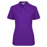 Ladies Easycare Purple Pique Polo-CC