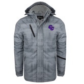 Grey Brushstroke Print Insulated Jacket-CC