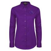 Ladies Purple Twill Button Down Long Sleeve-CC