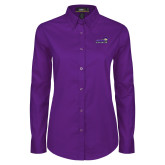 Ladies Purple Twill Button Down Long Sleeve-Curry Colonels