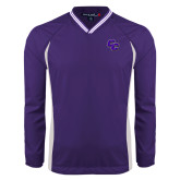 Colorblock V Neck Purple/White Raglan Windshirt-CC
