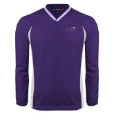 Colorblock V Neck Purple/White Raglan Windshirt-Curry Colonels
