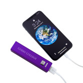 Aluminum Purple Power Bank-Curry College Flat  Engraved