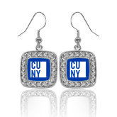 City University of NY Crystal Studded Square Pendant Silver Dangle Earrings-CUNY