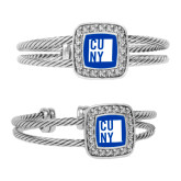 City University of NY Crystal Studded Cable Cuff Bracelet With Square Pendant-CUNY