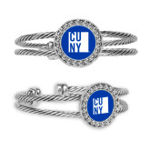 City University of NY Crystal Studded Cable Cuff Bracelet with Round Pendant-CUNY