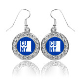 City University of NY Crystal Studded Round Pendant Silver Dangle Earrings-CUNY