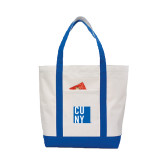 Contender White/Royal Canvas Tote-CUNY