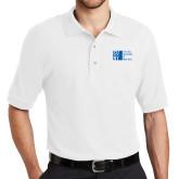 City University of NY White Easycare Pique Polo-Official Logo