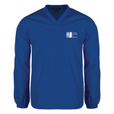 City University of NY V Neck Royal Raglan Windshirt-Official Logo