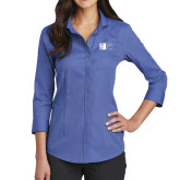 City University of NY Ladies Red House French Blue 3/4 Sleeve Shirt-Official Logo
