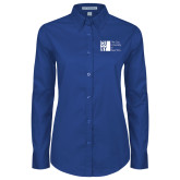 City University of NY Ladies Royal Twill Button Down Long Sleeve-Official Logo