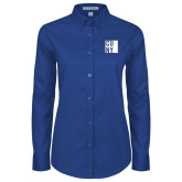 City University of NY Ladies Royal Twill Button Down Long Sleeve-CUNY