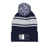 City University of NY Navy/White Two Tone Knit Pom Beanie w/Cuff-Official Logo