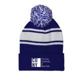 City University of NY Royal/White Two Tone Knit Pom Beanie w/Cuff-Official Logo