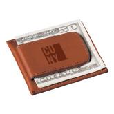City University of NY Cutter & Buck Chestnut Money Clip Card Case-CUNY Engraved