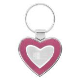 Silver/Pink Heart Key Holder-Official Logo Engraved