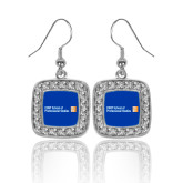 CUNY School of Prof Studies Crystal Studded Square Pendant Silver Dangle Earrings-