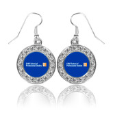 CUNY School of Prof Studies Crystal Studded Round Pendant Silver Dangle Earrings-