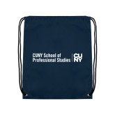Navy Drawstring Backpack-CUNY SPS Two Line