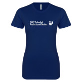 Next Level Ladies SoftStyle Junior Fitted Navy Tee-CUNY SPS Two Line