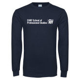 Navy Long Sleeve T Shirt-CUNY SPS Two Line