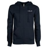 ENZA Ladies Navy Fleece Full Zip Hoodie-CUNY SPS Two Line